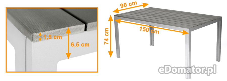 Meble Ogrodowe Aluminiowe Zestaw Ogrodowy Modena : Stół prostokątny ogrodowy wykonany z aluminium z blatem imitującym